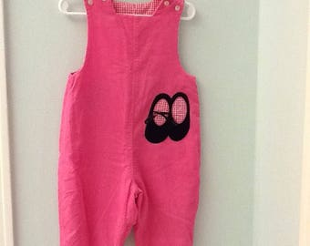 24 Month Reversible Pink/Pink Checked Corduroy Long All with Ballet Slipper  & Ladybug Appliques