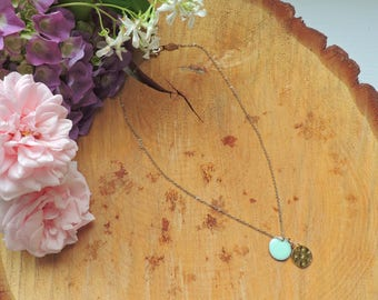 Round necklace, Gold, enamel, Mint, green, modern necklace, bohemia, love