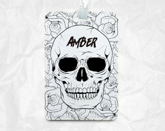 halloween skulls with floral as halloween gift with personalized name monogram printing luggage tag - Halloween Skulls Pictures