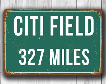PERSONALIZED CITI FIELD Distance Sign, Citi Field Miles Miles, New York Mets, Green Miles Sign, Distance Signs, New York Mets Decor, Mets