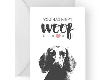 Dachshund anniversary card- birthday card, love card, dog birthday card, dachshund anniversary, dachshund card, dachshund birthday card