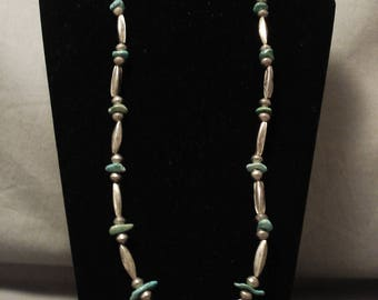 Earlier Vintage Navajo Hand Wrought Silver Torpedo Turquoise Silver Necklace