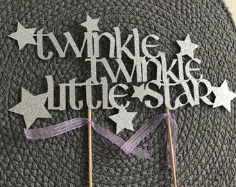 Twinkle Twinkle little star themed party cake topper