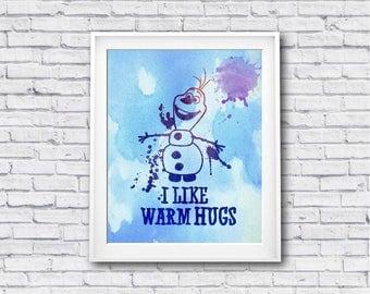 "I like warm hugs watercolor Murals ,8""x10""  JPEG & PDF file , Inspirational Quote, Digital Prints,Wall Art Prints, Digital Download"