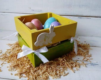 Set of Hand Painted eggs ornament Easter basket Easter décor Wooden Easter decoration Table décor Easter gift Easter egg Easter centerpiece