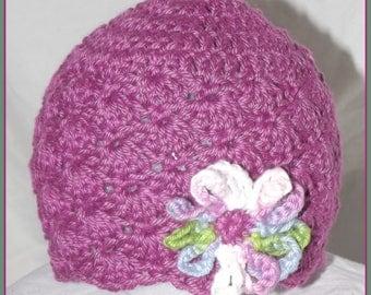 Crochet Mulberry Beanie w/ flower