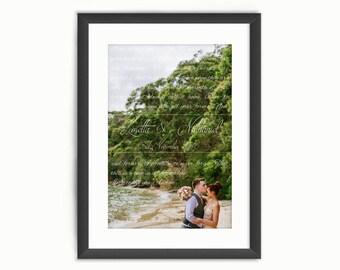 Wedding Song Lyrics Photo Print or Vows Names & Date - Custom Personalised Wedding Art - Anniversary/Valentine's Day Gift -Digital Printable