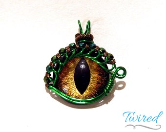Gold Hand-Painted Dragon Eye Pendant w/Green & Bronze Beaded Wire Wrap (with Necklace)