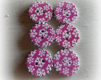 6 buttons rosewood snowflake snow scalloped round shape 24 mm