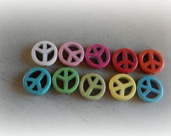 10 beads howlite peace and love color mixed diameter 15 mm
