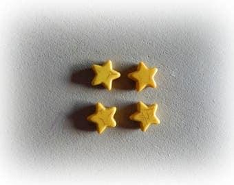 4 beads, 12 mm yellow howlite star
