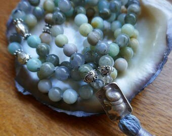 Mala: Labradorite, aventurine, Hill Tribe & sterling silver with elephant sumeru. 108 beads Yoga meditation tassel necklace Handmade bag