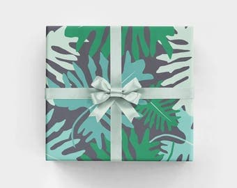 Big Tropical Leaves Wrapping Paper Sheets - WS1115 - Monochromatic Gift Wrap with Monstera Leaves - Chic Botanical Gift Wrap - Jungle Plant