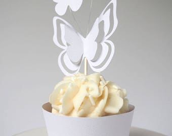 White 3D Butterfly Cupcake Pick - Baby Shower, Bridal Shower, Wedding, Cake Decoration, Cupcake Topper
