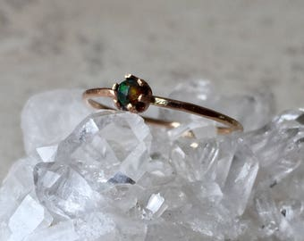 black opal and gold filled ring-size 6