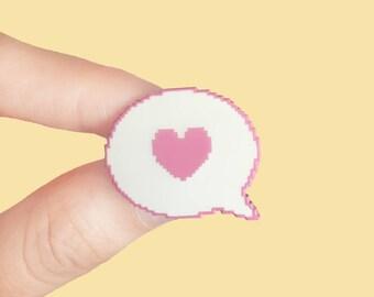 Cute Pink Pixel Art Love Heart Speech Bubble Enamel Pin
