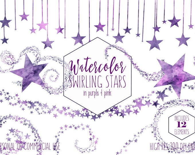 PURPLE WATERCOLOR STARS Clipart Commercial Use Clip Art Pink & Purple Swirling Star Trails Celestial Border Frames Kids Fun Digital Graphics