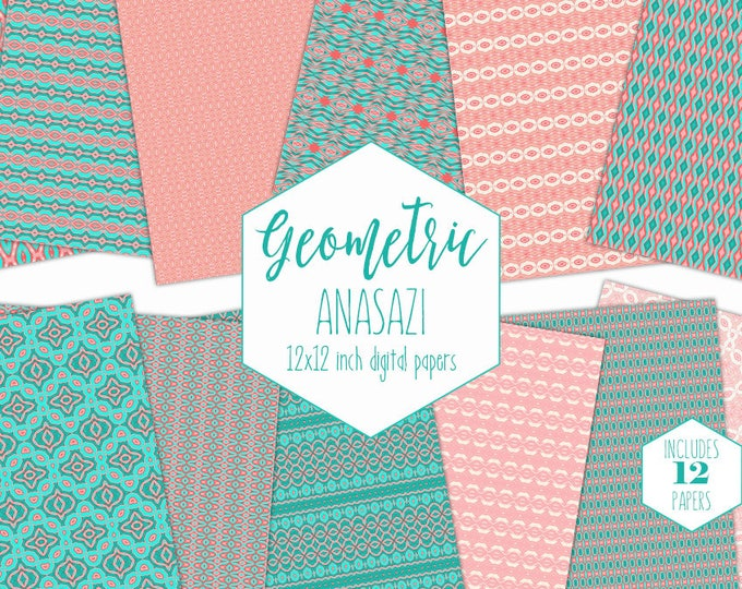 PEACH & TURQUOISE Digital Paper Pack Commercial Use Aztec Backgrounds Teal Coral Tribal Scrapbook Paper Geometric Printable Patterns Clipart