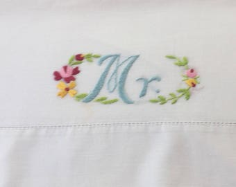 Vintage pillowcase with MR