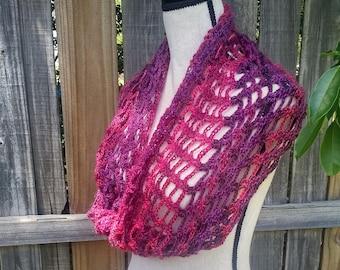 Burgundy Mobius Scarf - Mobius Infinity Scarf - Crocheted Scarf - Burgundy Infinity Scarf - Mesh Scarf - Summer Scarf - Fashion Accessory