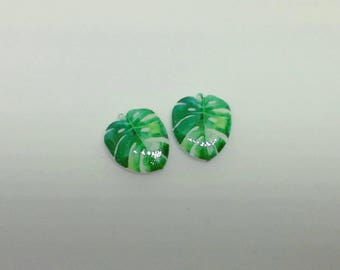 Acrylic monstera swiss cheese plant leaf tropical earrings studs