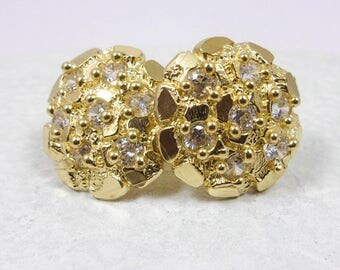 Solid 10K Yellow Gold Large Round Nugget Stud Earrings, 2.5 grams