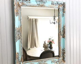 Aqua Blue Shabby Chic Mirror Bathroom Vanity Baroque Wall