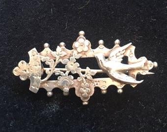 Victorian brooch. Silver brooch. Birds brooch
