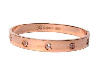 Stunning Iconic Clear Crystal Rose Gold Bangle Bracelet