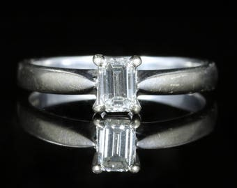 Diamond Engagement Ring Emerald Cut 18ct White Gold