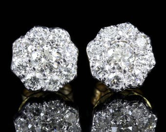 Diamond 1.25ct Cluster 18ct Gold Earrings