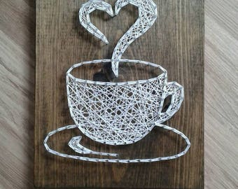 String Art Coffee Coffee Cup Wall Hanging Strings And