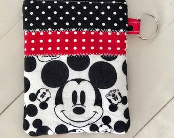 Disney Mickey Mouse patchwork zippered card wallet mini wallet keychain wallet