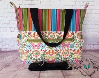 Nappy Bag, Diaper Bag, Baby Bag, Overnight Bag, Weekender Bag, Gift for New Mum, Pink Butterflies, Large Carry Bag, Vegan Nappy Bag