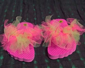 Hot pink and Neon Green flip flops