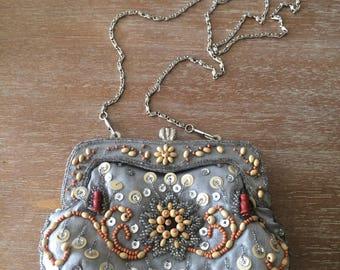 Vintage Moni Couture Silver Beaded Purse