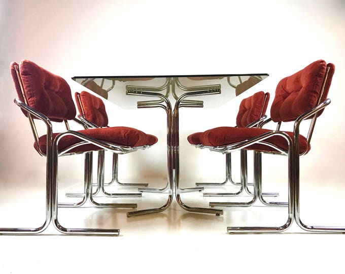 Mid Century Modern CHROME Tubular DINING Set Attr Milo BAUGHMAN Glam