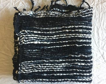 Handwoven Organic Cotton Scarf - Black & white