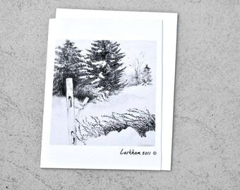 Fence in Winter Greeting Card