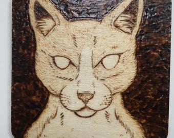 8cm Square Pyrography Cat Magnet