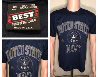Vintage United States navy tshirt // 50/50 thin soft blend // 1980s authentic original // made in USA