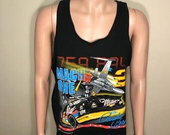 Vintage 90s Miller Lite tank top // muscle shirt // adult size xl // Rusty Wallace // nascar tee //Mach One Ford // single stitch // large