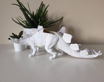 Stegosaurus dinosaur planter with succulent plant home wedding birthday kids party decoration decor office gift idea custom personalised