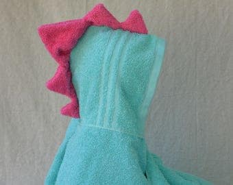 Aqua Blue Dinosaur Hooded Towel with Pink Spikes