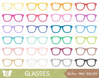 Glasses Clipart, Spectacles Clip Art, Rainbow Eyewear Eyeglasses Frame Reading Nerd, Digital PNG Graphic Download, Commercial Use