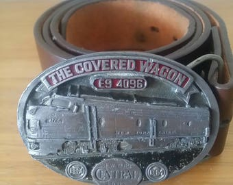 Covered Wagon E9 4096/New York Central Lines Leather Buckle/Belt/Size 34 36