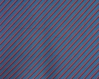 "Blue and Red Fabric, Stripe Print, Dressmaking Material, Sewing Fabric, 42"" Inch Cotton Fabric By The Yard ZBC9310A"
