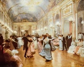 Vintage UNFRAMED An Elegant Soiree by Victor Gabriel Gilbert (French 1947-1933), Fine Art Print, Ballroom, Waltz, 1800s, 1900s, Victorian
