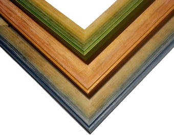 Color Washed Wood Picture Frame, Hand Finished,Weathered Blue, Orange, Green, 4x6, 5x7, 8x10, 9x9, 11x14, 16x20, 6x6, 18x24, 24x30, 24x36