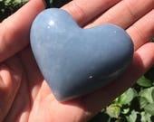 Beautiful Angelite Heart Shaped Palm Stone ~ Angel Communication ~ Throat Chakra ~ Calming